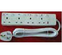 SV884_3-W 4 GANG SWITCHED 13A BS SOCKET WITH 3MT CABLE & PLUG TOP WITH SURGE PROTECTION