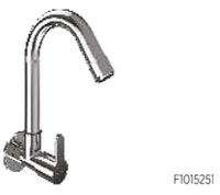 Sink cock (wall mounted) with long swivel spout & wall flange